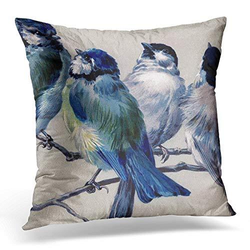 Throw Pillow Cover Bedding Bluebirds on Tree Branch Bird Toile Decorative Pillow Case Home Decor Square 18x18 Inches Pillowcase