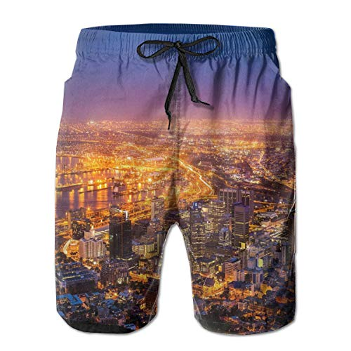 Men Swim Trunks Beach Shorts,Cape Town Panorama At Dawn South Africa Coastline Roads Architecture Twilight Marigold Blue Pink,Quick Dry 3D Printed Drawstring Casual Summer Surfing Board shorts XXL