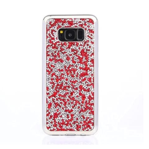 Galaxy S8 Plus Full Diamonds Shell, TAITOU Cool Shiny Manual Diamante Crystal Glitter Etui, Soft Plated Bumper Anti-Drop Ultralight Slim Phone Coque for Samsung Galaxy S8 Plus Red