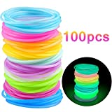 Fascette per Capelli - MOOKLIN 100 Pezzi Hair Ring Luminoso Bracciali Gomma Hairband Accessori capelli Colorati per Bambina Donne All Hair Types, 21 x 14.5cm