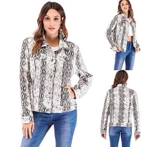 xue binghualoll Eoeth T-Shirts für Frauen 's Snake Printed Langarm Strickjacke Mantel Turn-Down Oberbekleidung Jacke Top Bluse Mit Tasche (Zip Blazer Front)