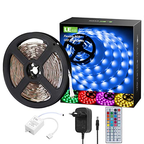 LE 5M RGB LED Strip Set, 5050 SMD LED Streifen, 12V, Selbstklebend LED Strips, Flexibel LED Band, LED Leiste, LED Lichtband, Netzteil und Controller enthalten 12v Controller