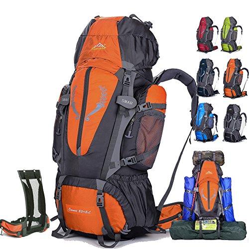 Rucksack für Sport/Outdoor/Wandern/Klettern/Trekking, wasserdicht,85L,groß rot - rot
