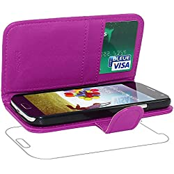 ebestStar - Compatible Coque Samsung S4 Galaxy i9500 i9505 Etui PU Cuir Housse Portefeuille Porte-Cartes Support Stand, Violet [Appareil: 136.6 x 69.8 x 7.9mm, 5.0'']