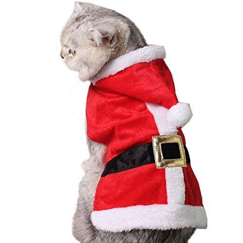 Bolbove Pet Weihnachten Santa Claus Anzug Kostüm mit Hat für Katzen Welpen