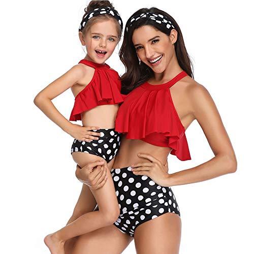 Zwei Stücke Mutter und Tochter passenden Badeanzug Set Ruffle Plissee Vintage Floral Print Schulterfrei Bademode Outfit Set (S/Erwachsener, rot)