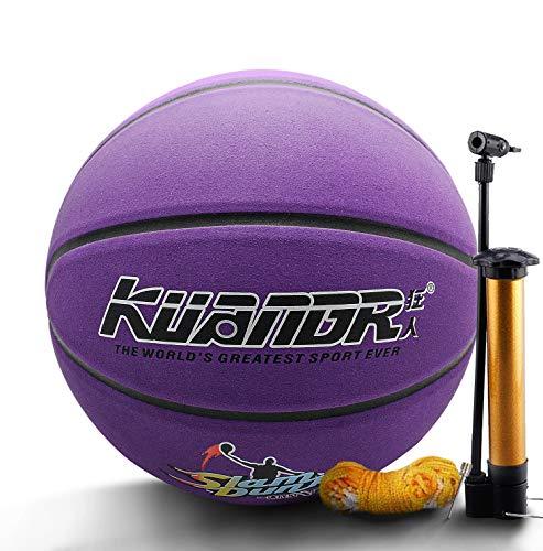 cwin Basketball Größe 7 mit Pumpe Indoor Outdoor Junior Kinder Kinder Jugend Wildleder Basketball Spiel Street Basketball mit 3 Zubehör