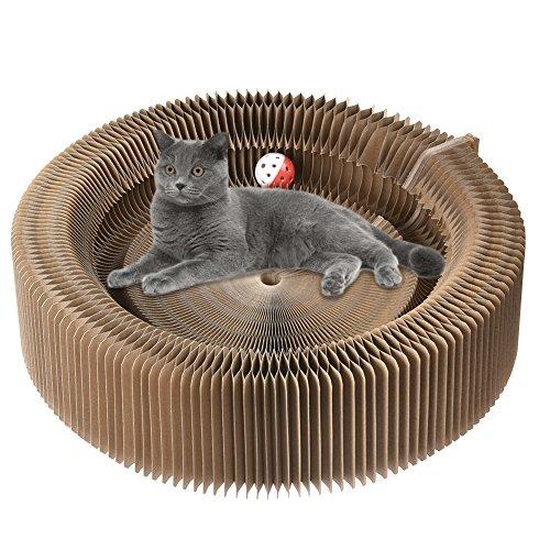 en Platte aus Pappe - Katze Scratcher Haus Spielzeug Akkordeon Katzen Nest mit Katzenminze ()