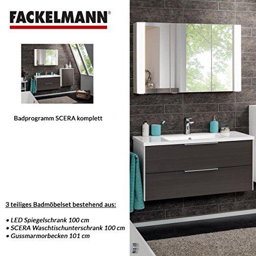 Fackelmann Badmöbel Set Scera 3-tlg. 100 cm grau weiß mit Waschtischunterschrank mit Gussmarmorbecken & LED Spiegelschrank