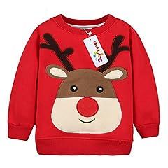 Idea Regalo - Felpe Sportive del Natale cervi per Bambine e ragazze Pullover Bambini a Manica Lunga Maglione Vine 4 anni