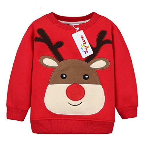 Felpe Sportive del Natale cervi per Bambine e ragazze Pullover Bambini a Manica Lunga Maglione Vine 4 anni