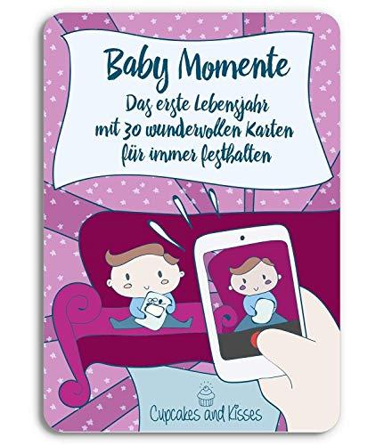 CUPCAKES & KISSES® Baby Momente I 30 Foto Karten für das erste Lebensjahr I Glücksmomente festhalten I 12 Monate I abgerundete Ecken - hohe Sicherheit -