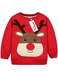 Bébé Sweat-Shirt Noël Pull-over pour Enfant Épais Sweatshirt Tops pour fille et garçon Vine