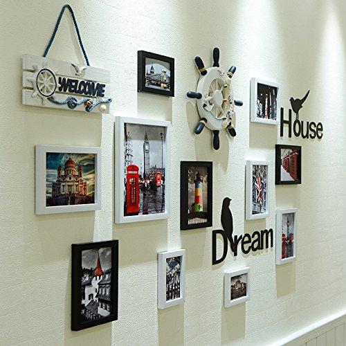 Lx.AZ.Kx Cadres Photo décoration murale de style européen pendaison Clip Cadre Photo Salon Nailless association du noir et blanc