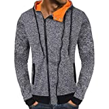 SEWORLD Sport Herren Mode Freizeit Oberteile Bluse Sommer Herbst Einzigartig Herren Winter Reißverschluss Kapuzenpullover Outwear Tops Bluse(Grau,EU-48/CN-M)