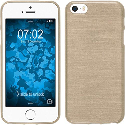 PhoneNatic Case für Apple iPhone SE Hülle Silikon blau brushed Cover iPhone SE Tasche + 2 Schutzfolien Gold