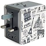 Adaptateur de Voyage Universel avec 2 ports USB de la série Rétro (5V/2.1A) - Édition Paris