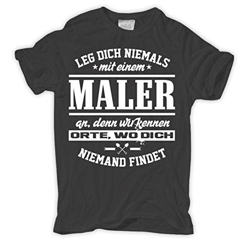 Männer und Herren T-Shirt Leg dich niemals mit einem MALER an Körperbetont grau