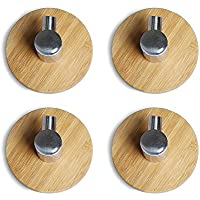CoCo 4pcs Adhesive Hooks Bathroom Lavatory Self Adhesive Coat and Robe Hook Rack/Rail with single Hooks 3M Sticker + FULL 304 Stainless Steel + Heavy Duty Bamboo (4pcs hooks) by Coco - Clip Porta Rod