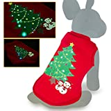 oneisall LED Light up Christmas Pet Dogs Shirts Costume Clothes for Holiday Festival Party S