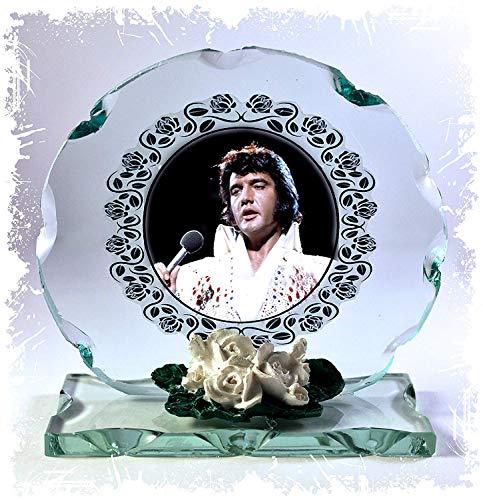 Elvis Presley, My Way, Blue Suede Shoes, Schnitt Glas rund Dekoschild besonderen Anlass Porzellan weiß Rosen Tribute Limited Edition # 1 -
