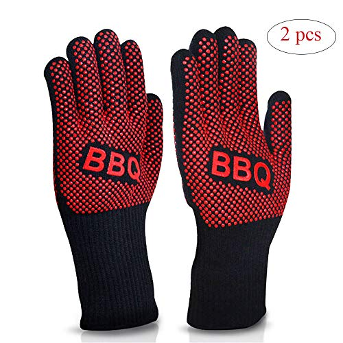 CHUDAN High Temperature Resistance Grilling Gloves Gloves, Oven Mitts BBQ with EN407 Certified - Extra Long, in the Kitchen, Oven Mitts, Pizza, Grilling, Fireplace Tools (2 Pairs)