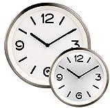 St. Leonhard Uhr: Edelstahl-Quarz-Wanduhr mit Zifferblatt-Beleuchtung und Lichtsensor (LED Wanduhren)