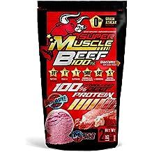 100% Super Muscle Beef Bag (Aislado de Proteína Hidrolizada de Vacuno al 90% enriquecido con BCAA2:1:1, L-Glutamina, AKG Arginina Alfa Ceto Glutarato, L-Carnosina, Creatina Monohidrato, con un bajo nivel de grasa y carbohidratos y libre de azúcar.) Peso neto 2lbs (907g) Sabor: fresa y limonada