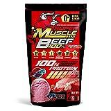 100% Super Muscle Beef Bag Isolato di proteine bovine idrolizzate al 90%, arricchito con BCAA 2.1.1, L-glutammina, AKG arginina alfa chetoglutarato, L-carnosina, creatina monoidrato, con basso contenuto di grassi e carboidrati e privo di zucchero,peso netto: 907 g, gusto: fragola e limone