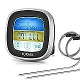 TURATA Thermomètre de Cuisine Digital Écran LCD Tactile Thermomètre de Cuisson Four Numérique Thermomètre à viande avec Double sondes, Thermomètre Alimentaire mode Minuterie pour Viande, Gril, BBQ, Four,Lait et l'Eau de Bain,Patisserie