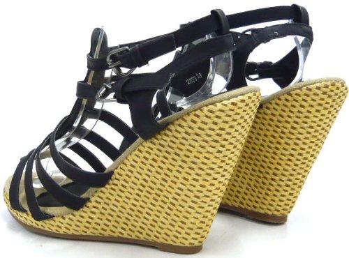 Schuh-City Damen Schuhe Pumps Sandaletten mit Keilabsatz Schwarz