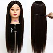 Neverland Beauty Cabeza Maniquí Peluqueria 66cm 10% Pelo Natural Humano Practicas Formación Muñeca de la Cosmetología (con soporte)