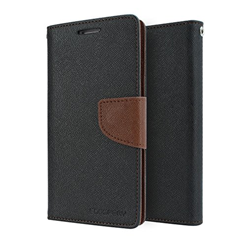 MVE Mercury Goospery FANCY Diary Card Wallet CASE Flip Cover for ONE PLUS X BLACK BROWN BY MVE
