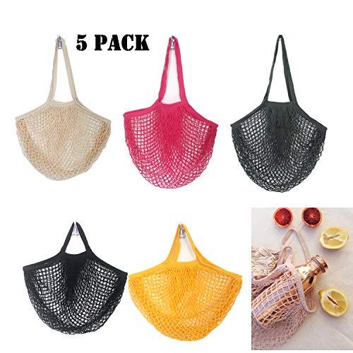 Weimeet 5 Stück Netztaschen Baumwolle Mesh String Organic Organizer Einkaufen Handtasche mit langem Griff tragbar wiederverwendbar und waschbar -