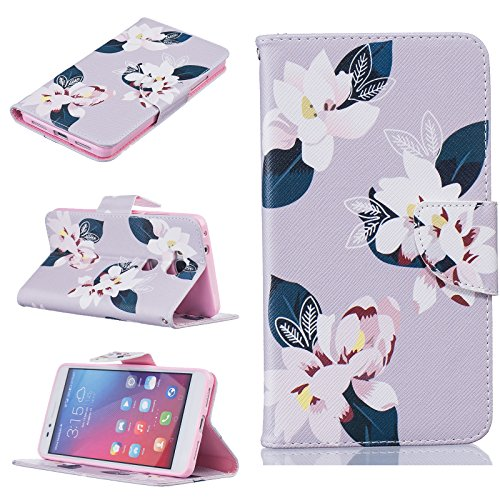 Cozy Hut® Huawei P9 Housse, Ultra-mince Etui En Cuir PU Flip Cassette Intérieur Pour Cartes Pour Huawei P9 New Mode Fine Folio Wallet/Portefeuille + Stand Support + Card Slot + Magnétique + Bookstyle  Gris lily