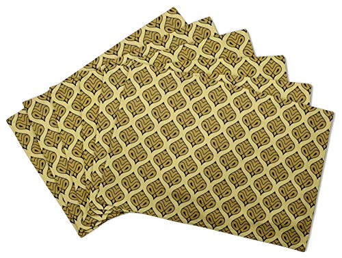 S4Sassy Vert marocain Damasse Set de Table réversible Tapis de Table réversible-12 x 18 Pouces-4 pièces