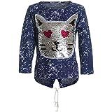 BEZLIT Mädchen Kapuzen Pullover Pulli Wende Pailletten Sweatshirt 21481, Farbe:Blau, Größe:116