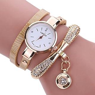 LSAltd Heiß Frauen Mädchen Klassische lederne Rhinestone Uhr analoge Quarz Armbanduhren großes Geschenk (Beige)