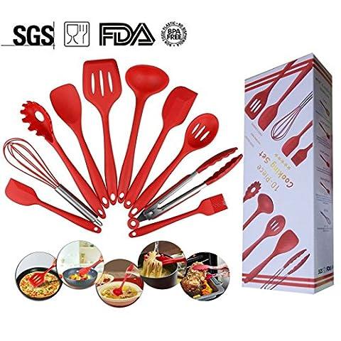Küchenutensilien aus Silikon – 10 Stück Silikon Küche Kochutensilien mit hygienisch massiv Beschichtung, hitzebeständig Backen (Facile Loop Turner)