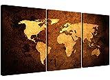 Cuadro de pared Wallfillers de 3 piezas sobre lienzo, diseño de mapa del mundo vintage