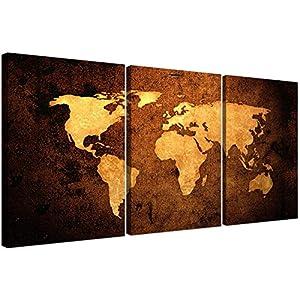 Cuadro de pared Wallfillers® de 3 piezas sobre lienzo, diseño de mapa del mundo vintage 6