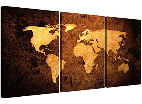 Cuadro de pared Wallfillers® de 3 piezas sobre lienzo, diseño de mapa del mundo vintage