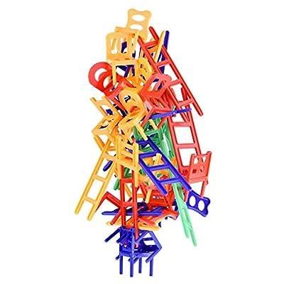 Jeu Chaises et Échelles. 44 Pièces individuelles. Jeu en Famille, faites-les tenir en Équilibre.
