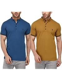 Youthen Cotton Mandarin Collar Deep Blue & Khakhi T-Shirt