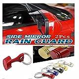 Combo Of Black Side Mirror Rain Guard Visor And Red Piston keychain For Mahindra Mahindra Scorpio