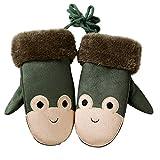 TOPSTORE01 Kinder Handschuhe Jungen Winter Lederhandschuhe Mädchen Warme Outdoor (Grün)
