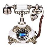Zerone Antiker Telefon Druckknopf Retro Weinlese Schnürte Telefon Haus Dekoration mit LCD Anzeige für Schlafzimmer Wohnzimmer und Mehr