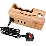 Amir Phone Stand, Watch Stand, for Christmas Gift, Bamboo Wood Charging Stand, Charge Dock Holder with 3 USB Ports, Desktop Smart Charging Station for iPhone 7, 6, 6s Plus, etc.