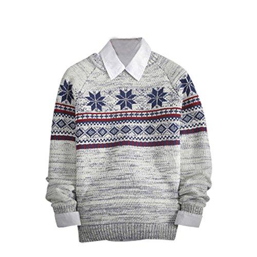 BOMOVO HerrenRundhals Feinstrick Strickpullover Pullover Sweatshirts Beige