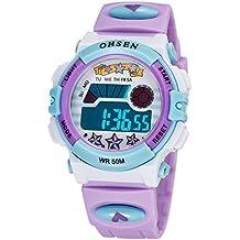 OHSEN Infantil Reloj de pulsera Bonito Colorido Niños Niñas Digital Luz fondo reloj Resistente al agua